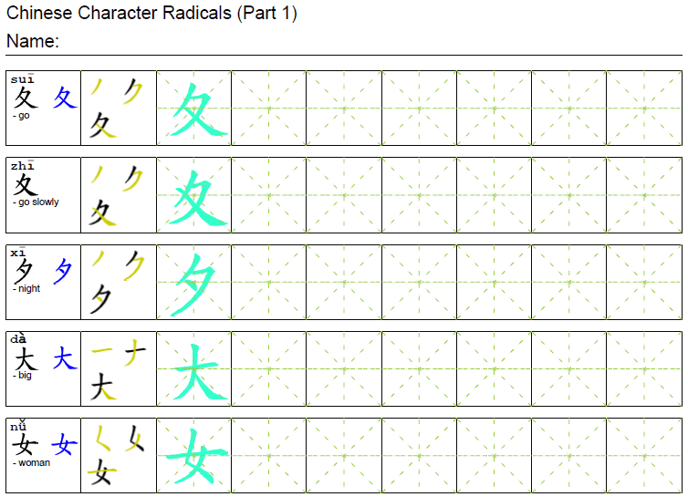 Chinese Radicals Arch Chinese – Radical Worksheets